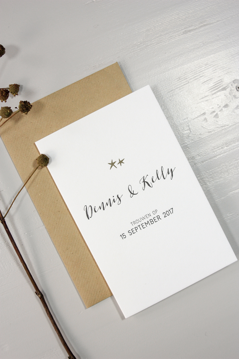 Letterpress trouwkaart Dennis en Kelly | Studio Moose