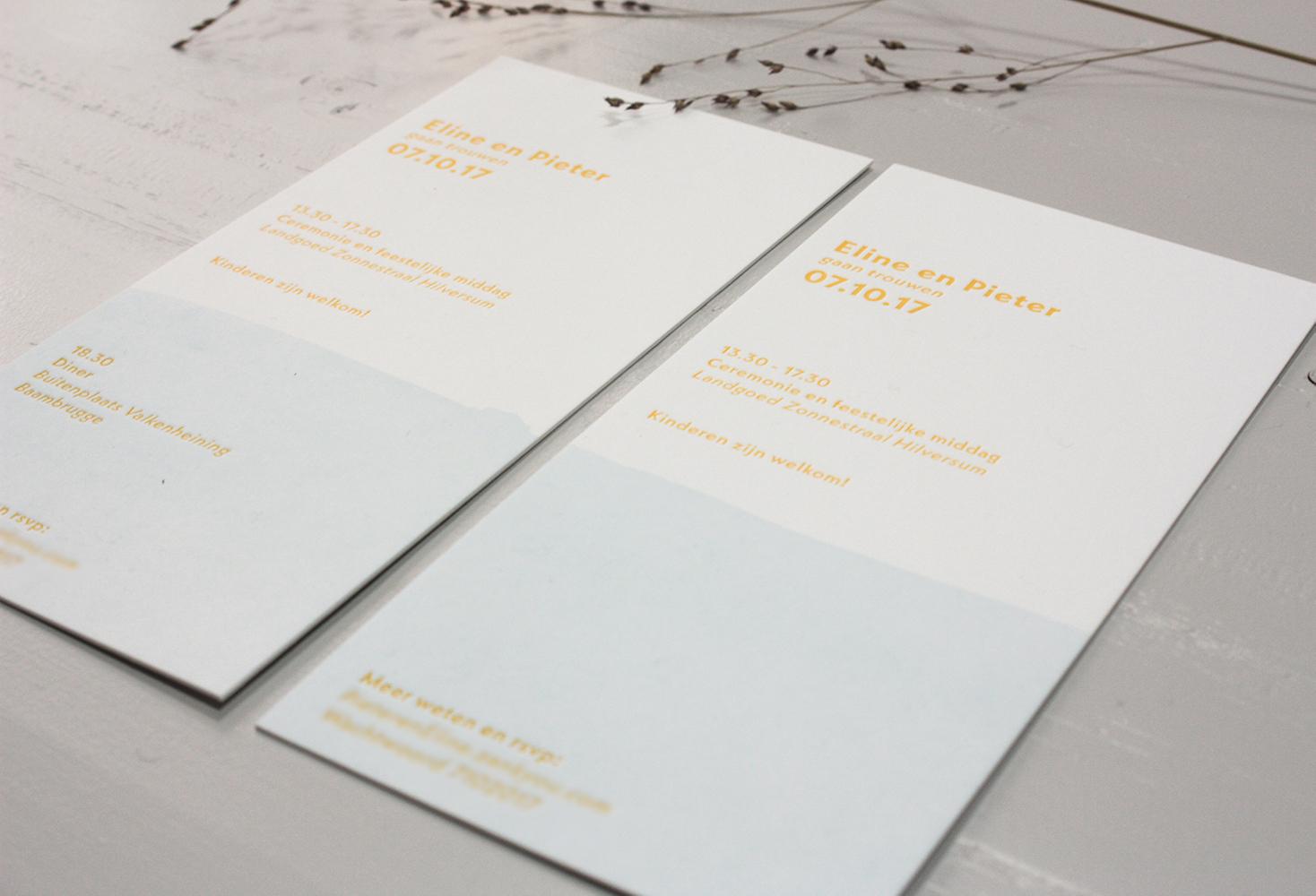 Letterpress trouwkaart Eline en Pieter | Studio Moose