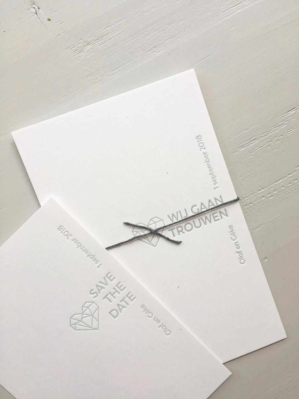Letterpress trouwkaart Olaf en Géke | Studio Moose