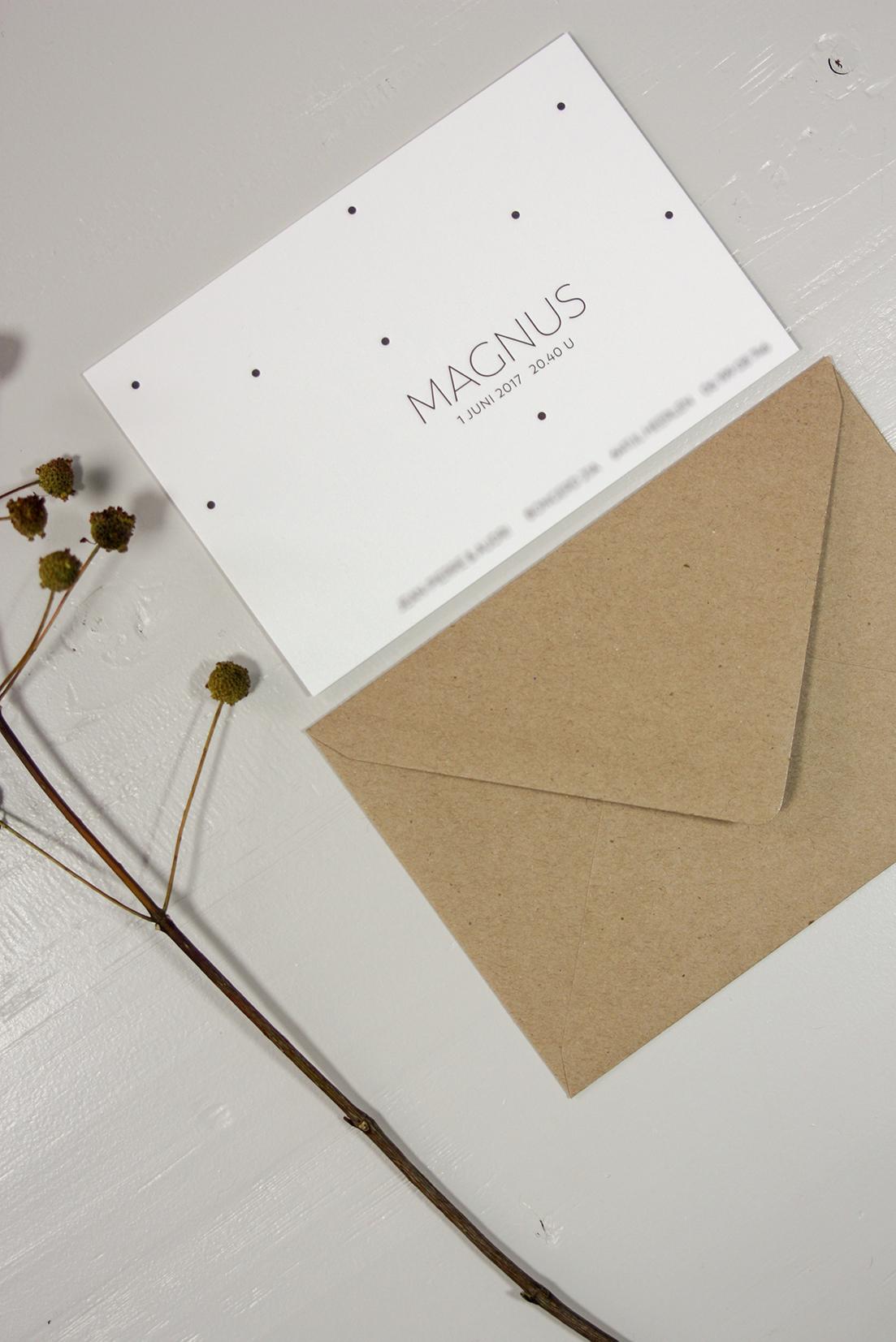 Letterpress geboortekaartje Magnus | Studio Moose