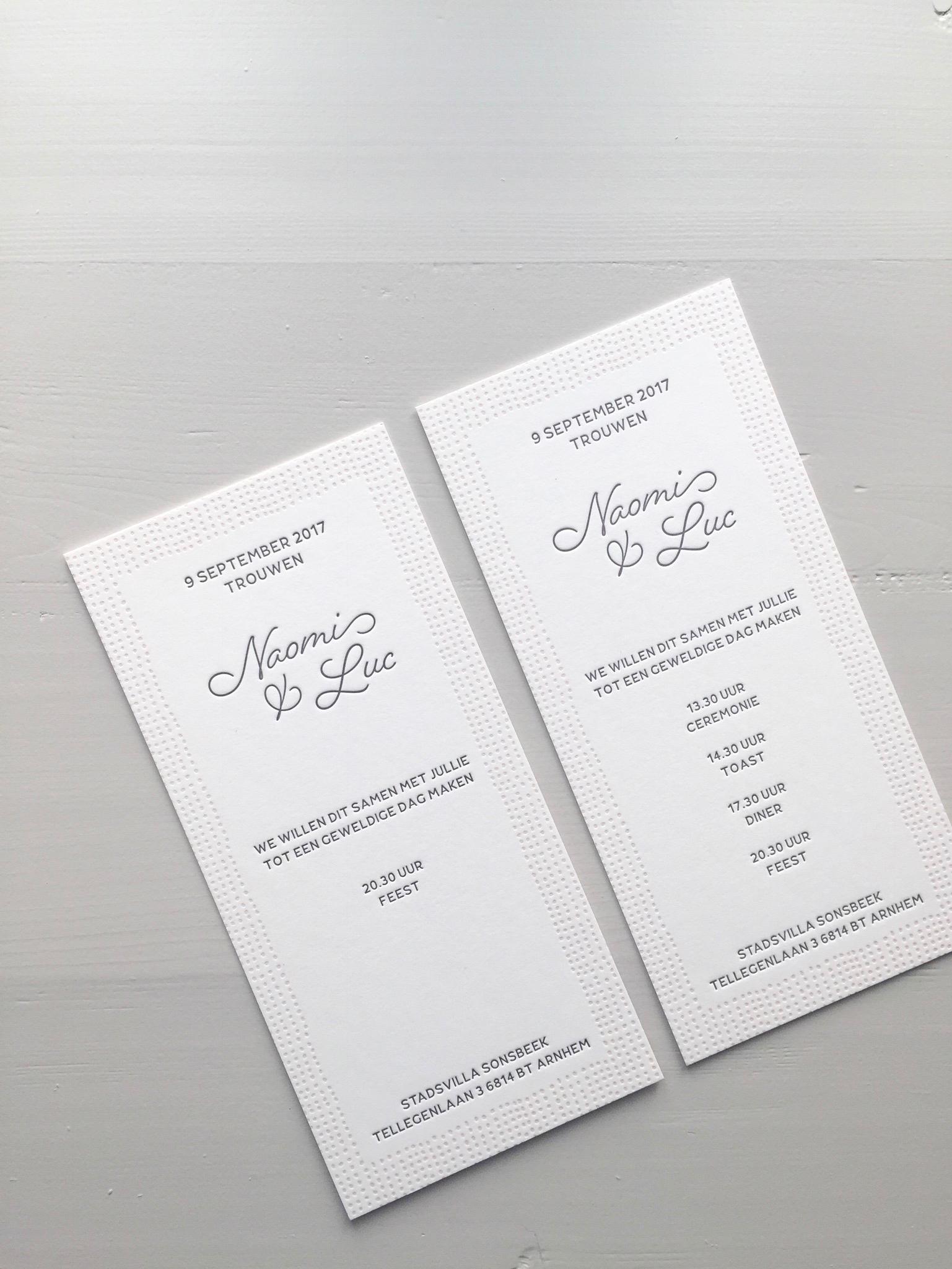 Letterpress trouwkaart Naomi en Luc | Studio Moose