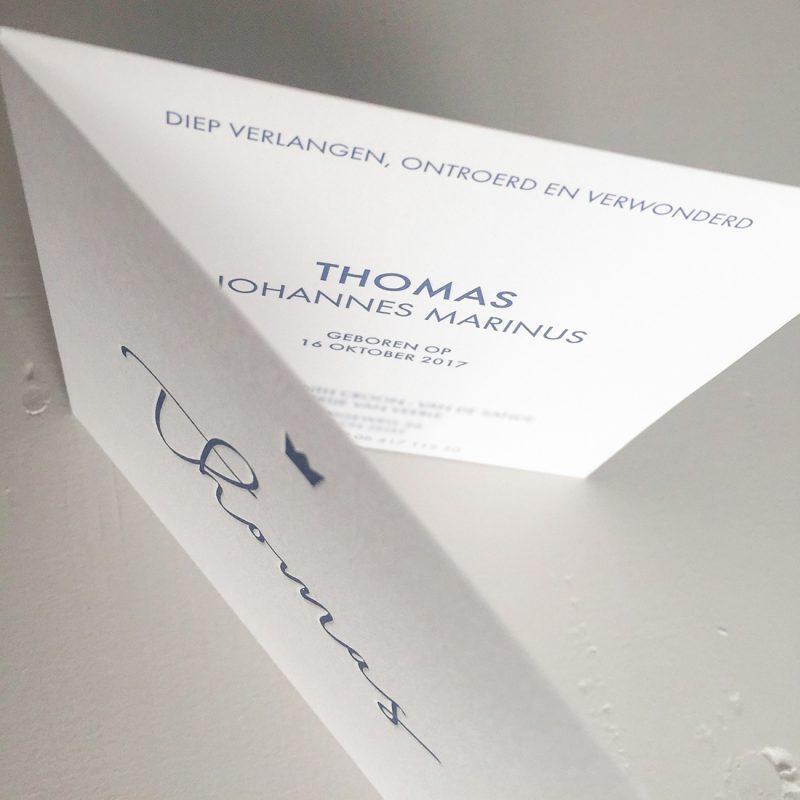 Letterpress geboortekaartje Thomas | Studio Moose
