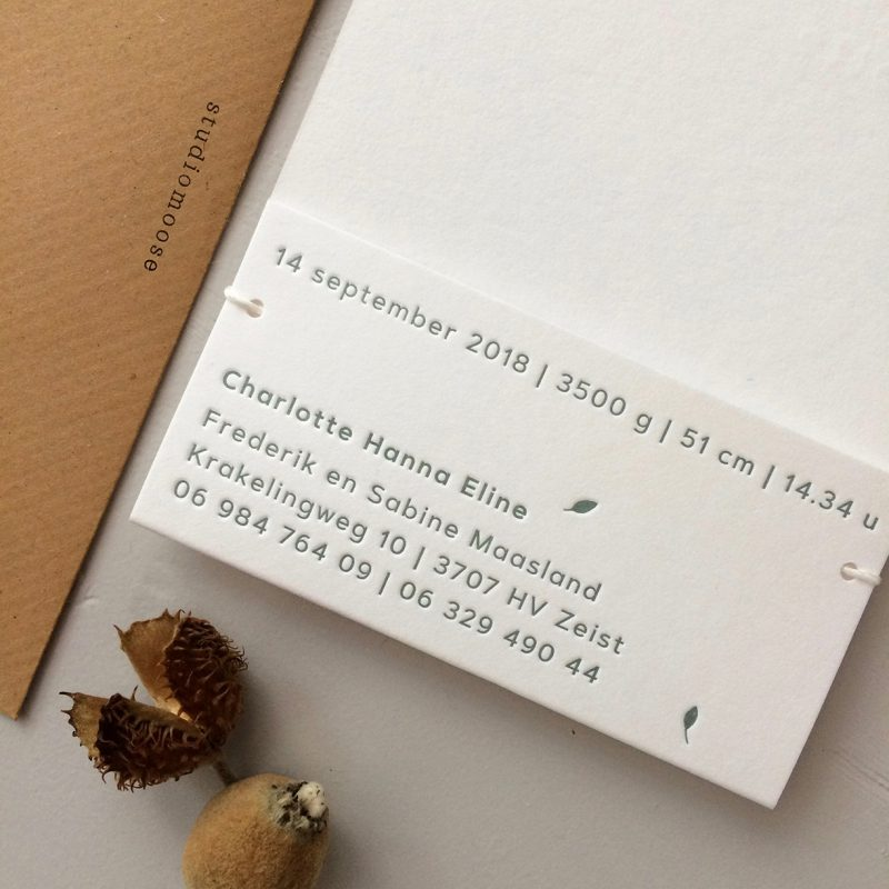 Letterpress geboortekaartje Charlotte | Studio Moose