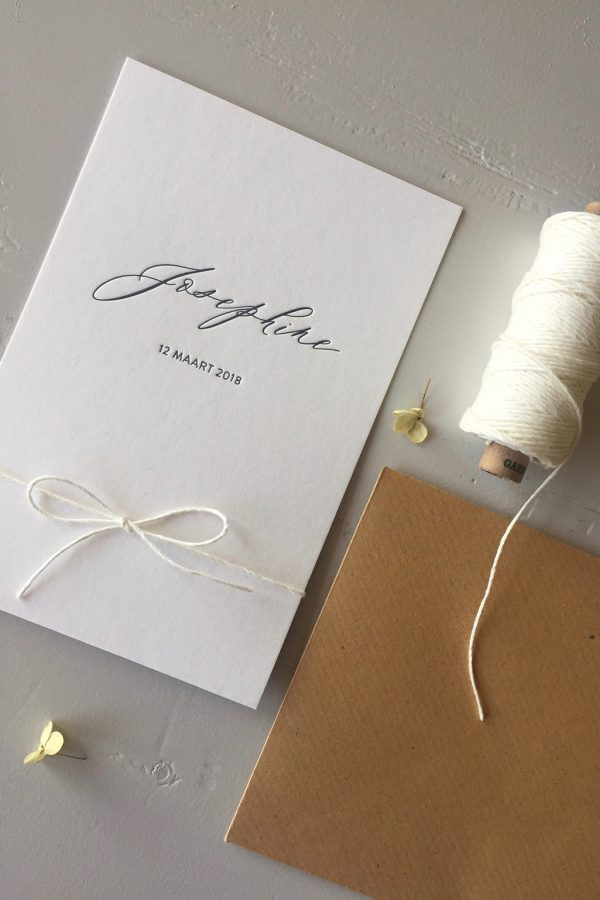 Letterpress geboortekaartje Josephine   Studio Moose