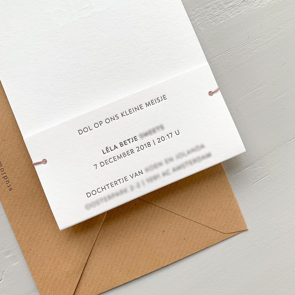 Letterpress geboortekaartje Léla   Studio Moose