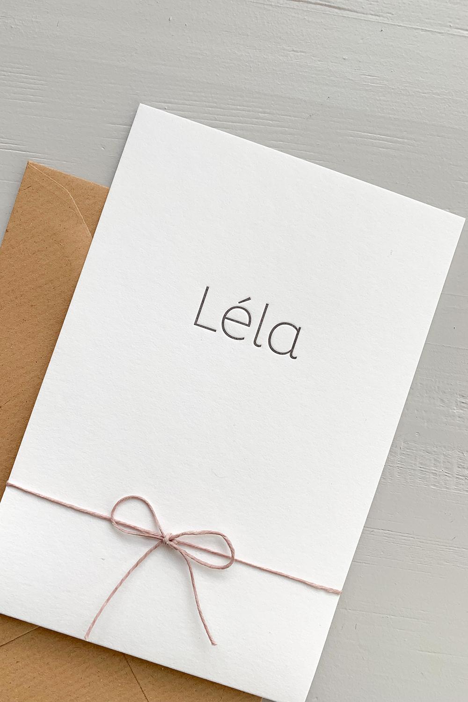 Letterpress geboortekaartje Léla | Studio Moose