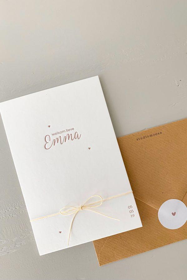 Letterpress geboortekaartje Emma | Studio Moose