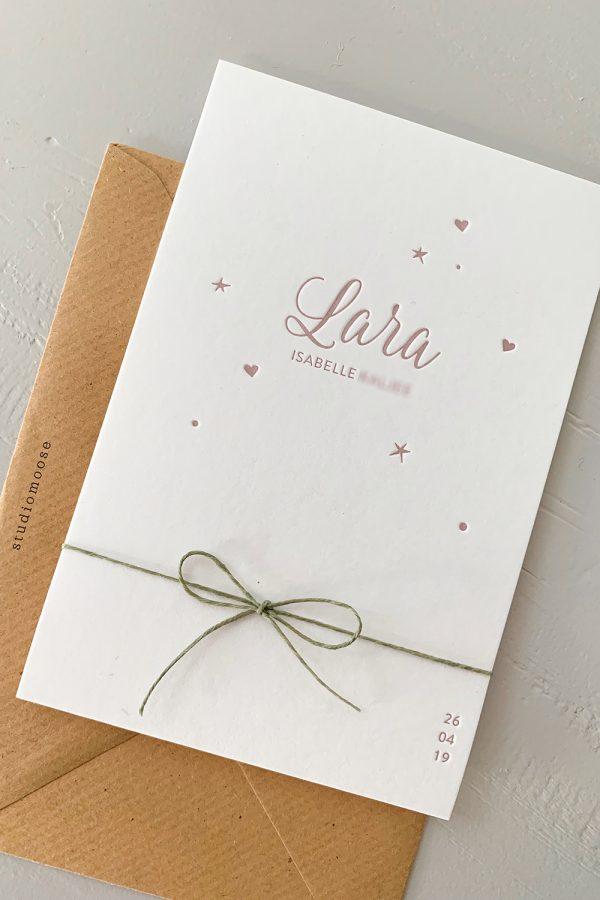 Letterpress geboortekaartje Lara | Studio Moose