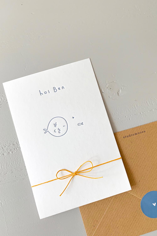 Letterpress geboortekaartje Ben | Studio Moose
