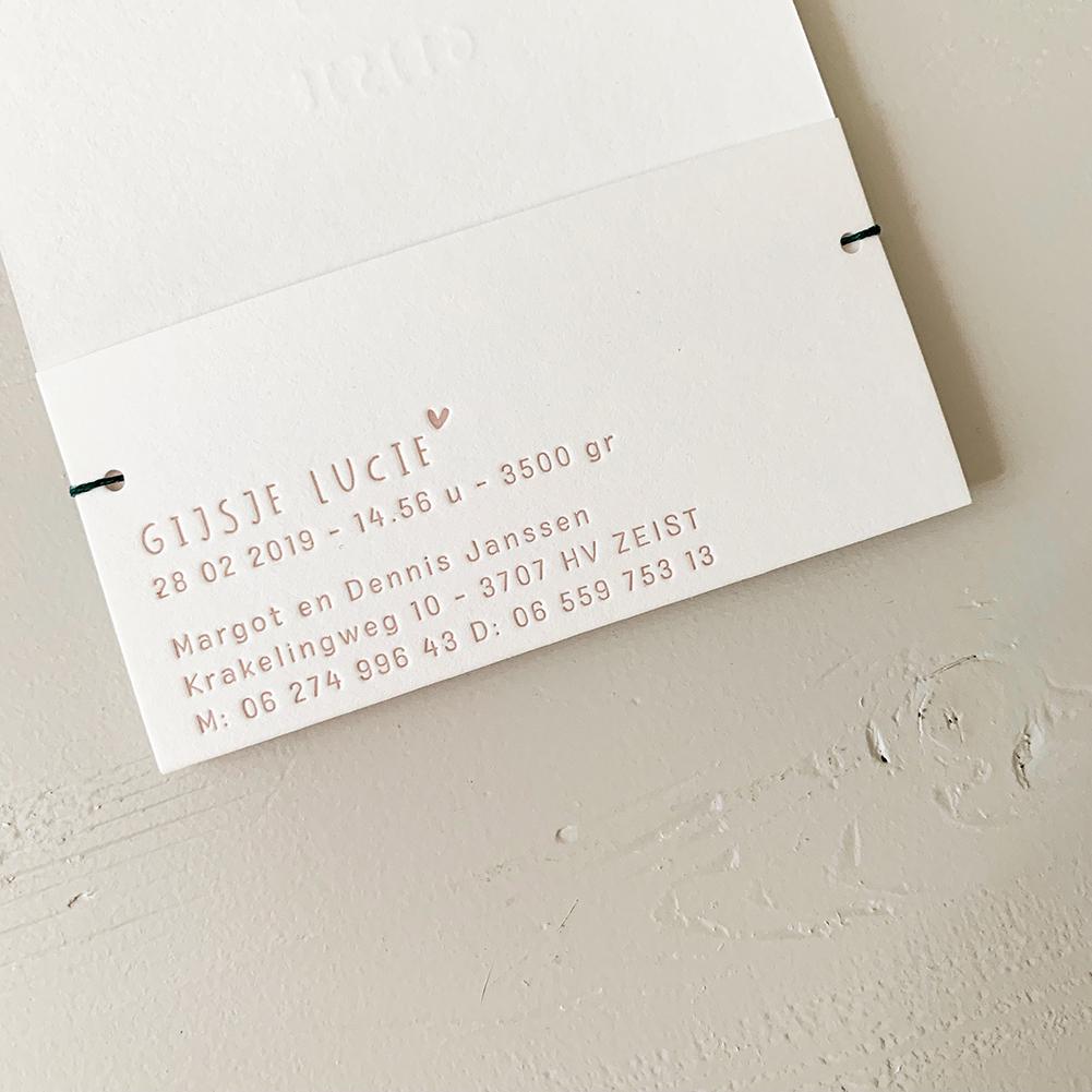 Letterpress geboortekaartje Gijsje | Studio Moose