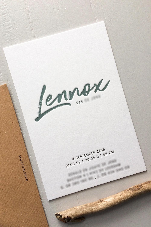 Letterpress geboortekaartje Lennox | Studio Moose