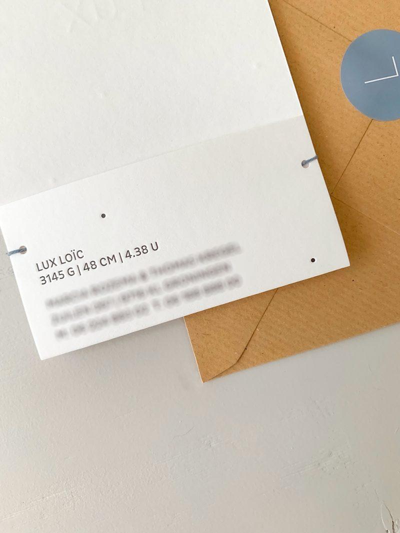 Letterpress geboortekaartje Lux | Studio Moose