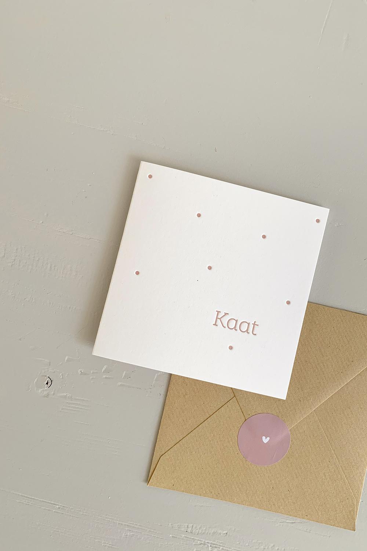Letterpress geboortekaartje Kaat | Studio Moose
