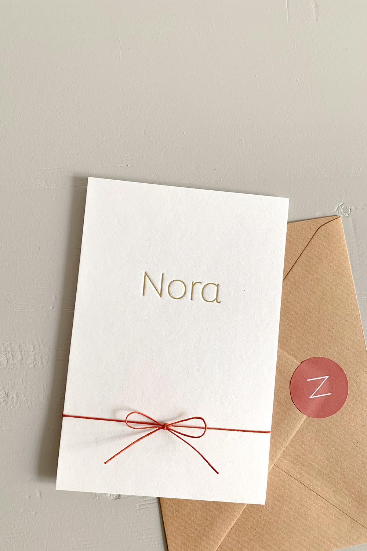 Letterpress geboortekaartje Nora | Studio Moose