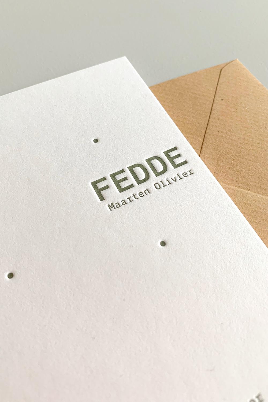 Letterpress geboortekaartje Fedde | Studio Moose