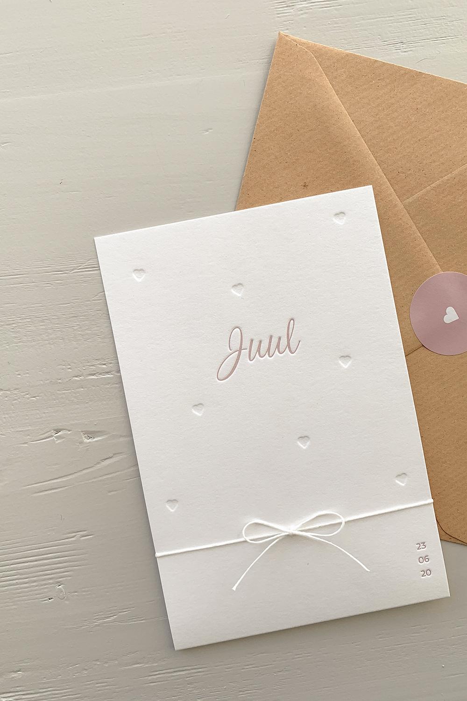 Letterpress geboortekaartje Juul | Studio Moose