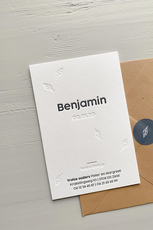 Letterpress geboortekaartje Benjamin | Studio Moose