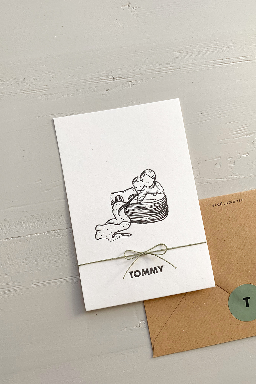 Letterpress geboortekaartje Tommy | Studio Moose