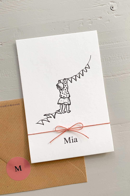 Letterpress geboortekaartje Mia | Studio Moose