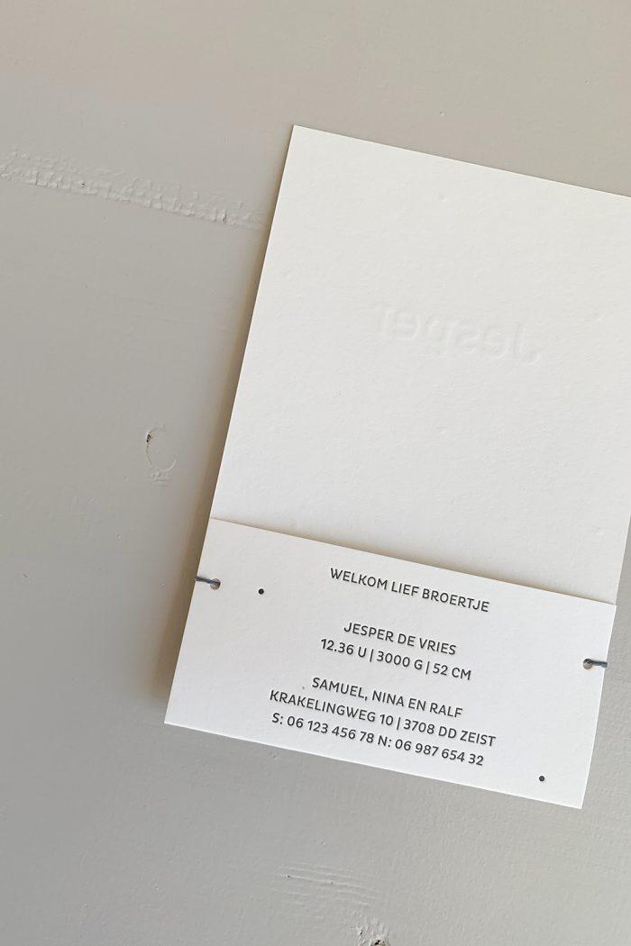 Letterpress geboortekaartje Jesper | Studio Moose
