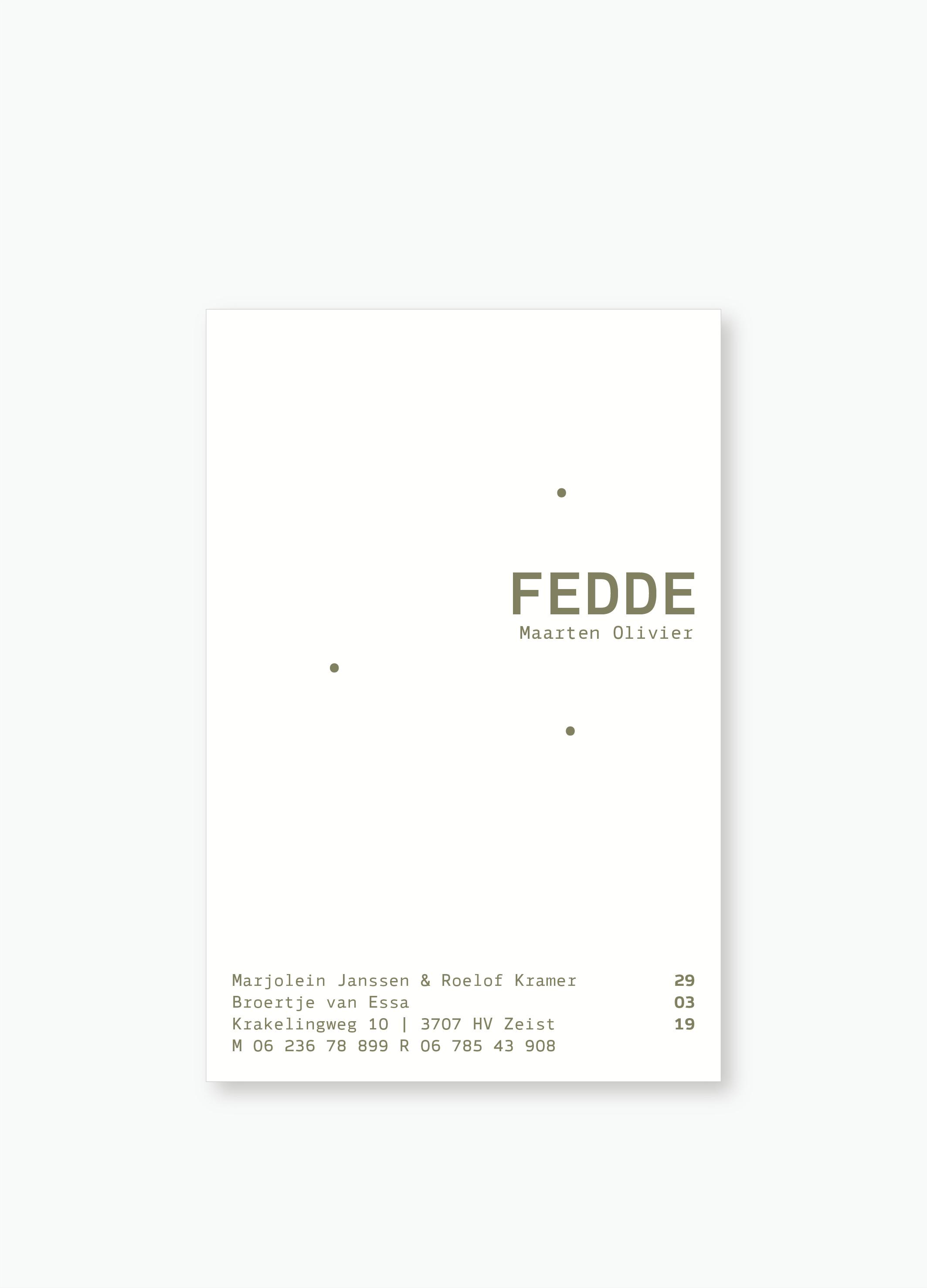 Geboortekaartje Fedde | Studio Moose