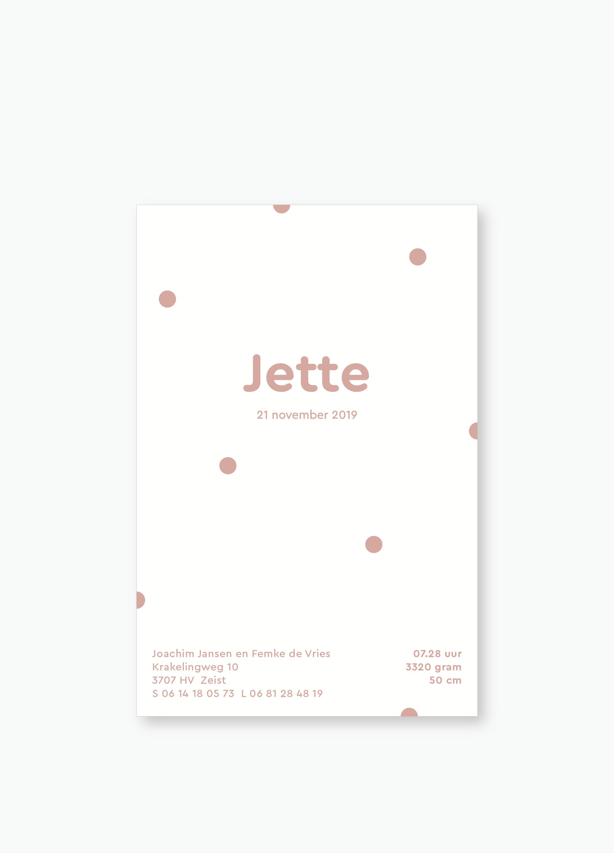 Geboortekaartje Jette | Studio Moose